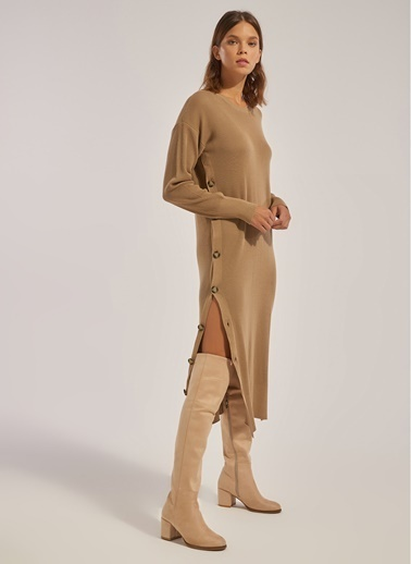 Monamoda Düğme Detaylı Tunik Elbise Vizon